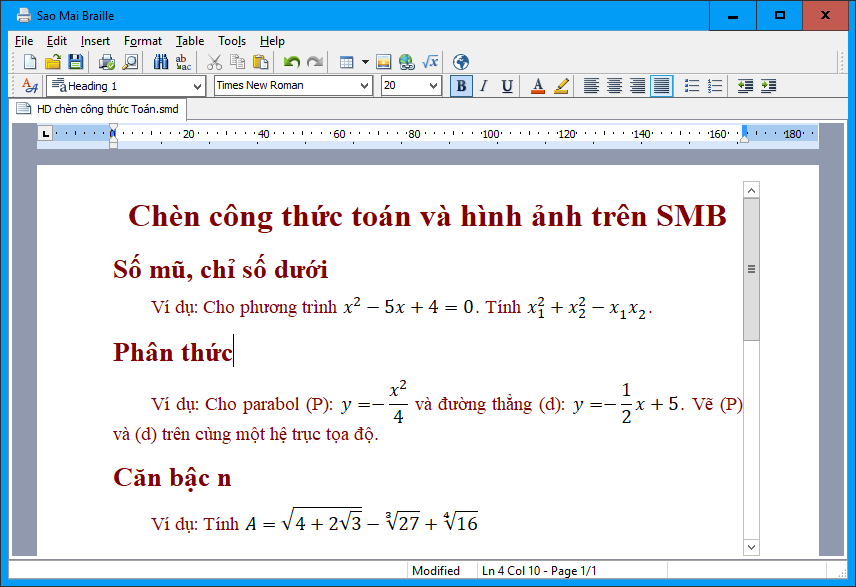 Examples of equations inserted in SMB