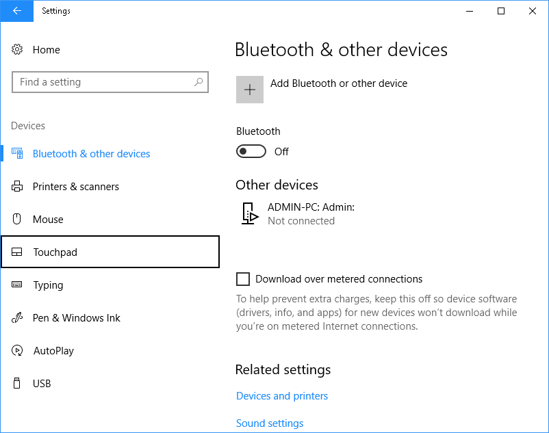 Devices with touchpad selected