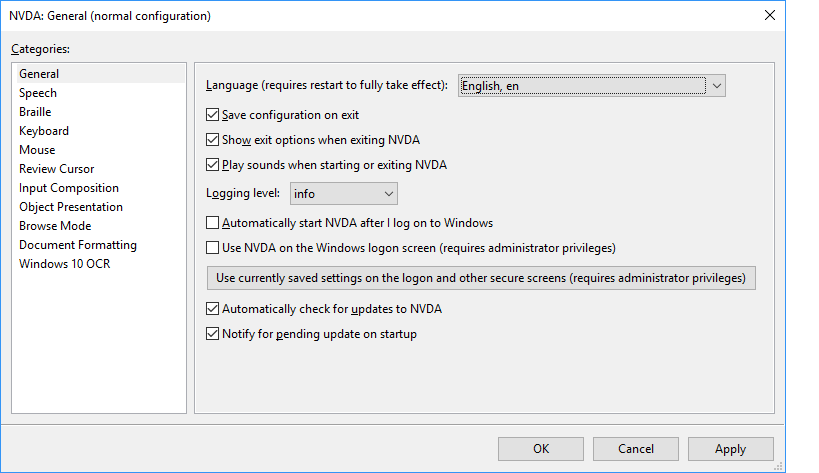 New Settings dialog in NVDA 2018.2.
