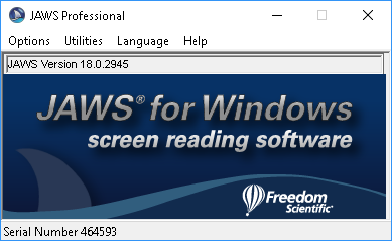Jaws 18.0 Professional main window.