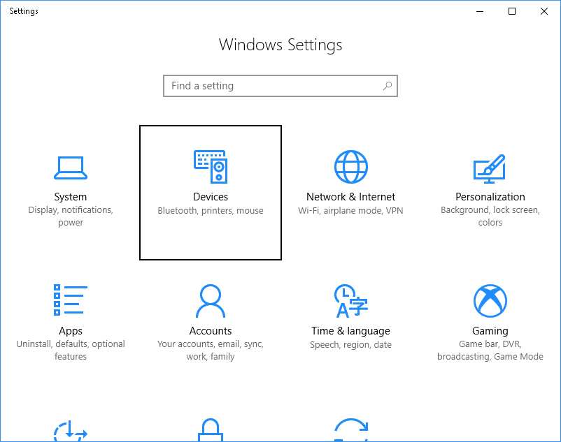 Settings with devices selected