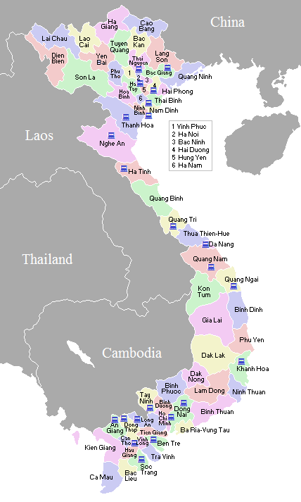 Map of Vietnam provinces showing the locations of the labs.